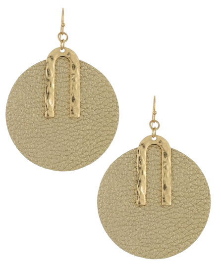 Gold Leatherette Circle Earrings