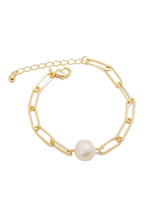 Gold Paper Clip and Pearl Bracelet