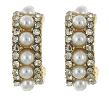 Gold Pearl and Rhinestone Hoops