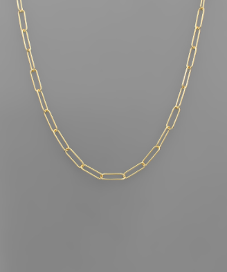 Gold Short Paper Clip Necklace