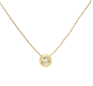 Gold Single Stone Necklace