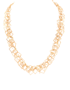 Gold Square & Circle Necklace