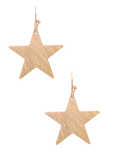 Gold Textured Star Dangle Earrings