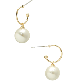 Gold and Pearl Huggie Earring