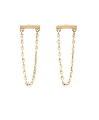 Gold Bar and Chain Earrings