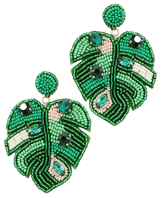 Green Beaded Leaf Earring