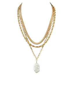 Howlite Stone & Gold Layered Necklace