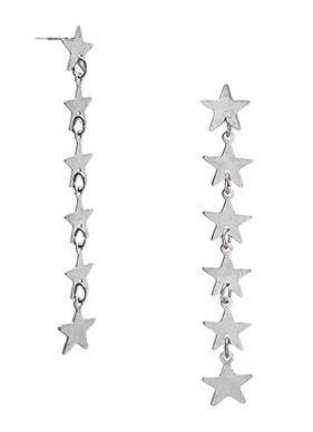 Silver Linear Stars Earrings