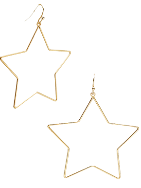 Gold Star Shape Earrings