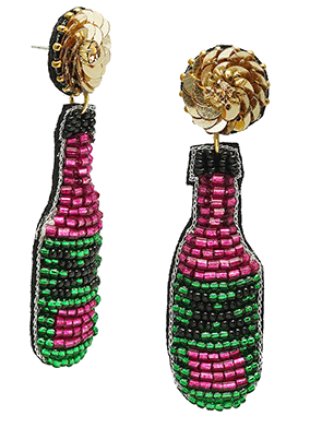 Pink and Green Champs Earrings