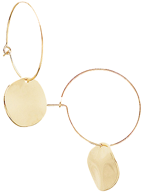 Gold Hoop with Disc Earrings