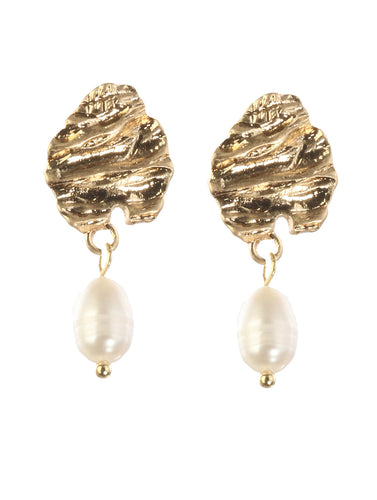 Gold Nugget & Pearl Earring