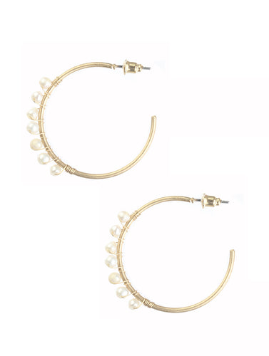 Matte Gold & Pearl Hoops