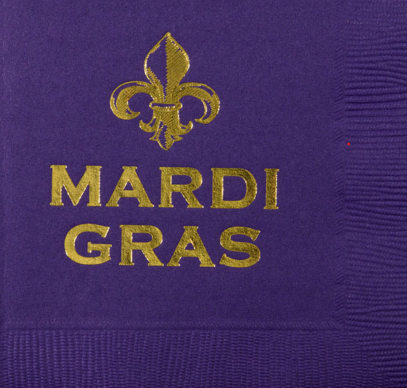Purple Mardi Gras Fleur De Lis Cocktail Napkins