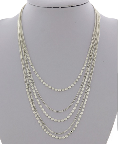 Silver Dot and Chain Layered Necklace