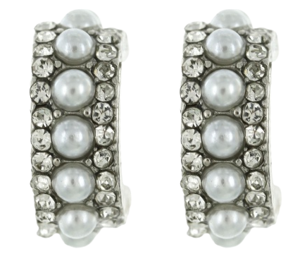 Silver Pearl and Rhinestone Hoops