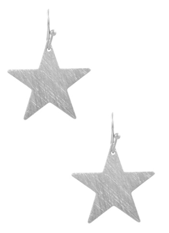 Silver Textured Star Dangle Earrings