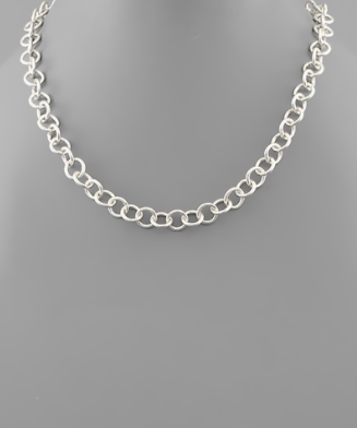 Small Silver Circle Chain Necklace
