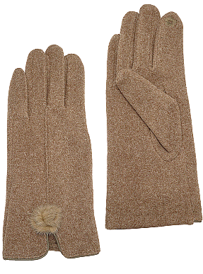 Tan Pom Pom Gloves
