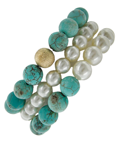 Turquoise and Pearl Trio Stretch Bracelet