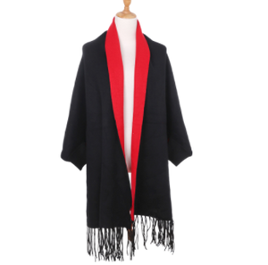 Two Toned Black & Red Poncho