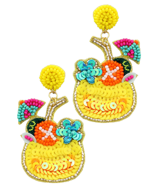 Yellow Tropical Drink Earrings