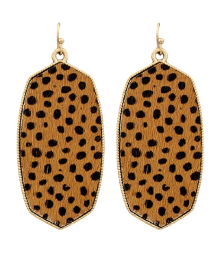 Brown Cheetah Oval Earrings