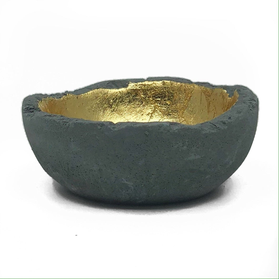Gray & Gold Leaf Petite Bowl