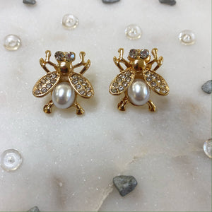 Large Gold & Crystal Bee Studs