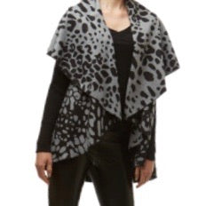 Gray Leopard Cape Shawl