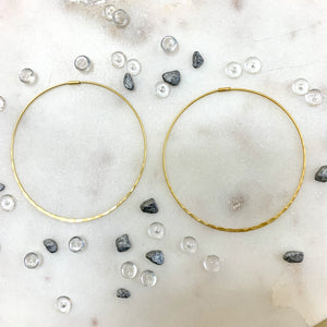Gold Thin Textured Hoop Earring