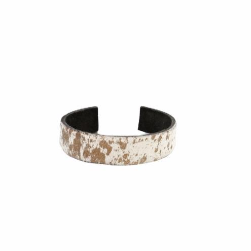 Brown & White Cowhide Cuff