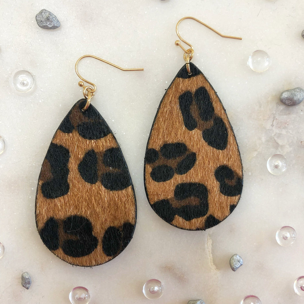 Leopard Faux Fur Teardrop Earring