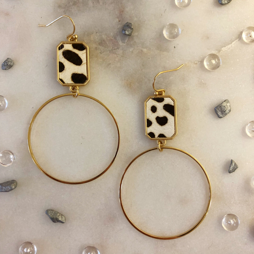 Black Leopard Rectangle Circle Earrings
