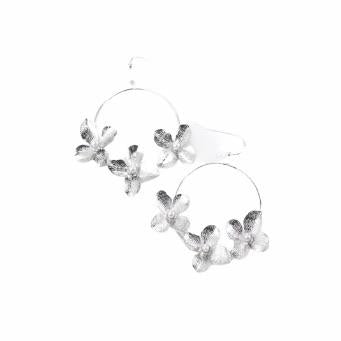 Silver Flower & Pearl Circle Ear