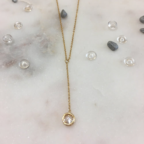 Gold Round CZ Necklace