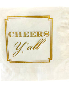 Gold Cheers Y'all Napkins