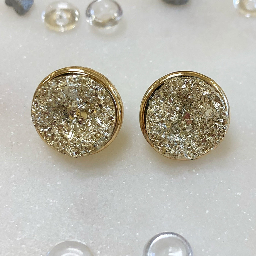 Gold Druzy Circle Stud - MSP Miss Smarty Pants