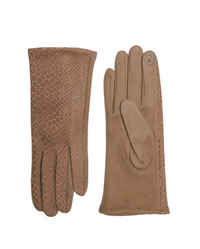 Beige Snake Touchscreen Gloves