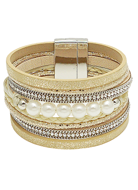 Leatherette Pearl Magnetic Bracelet