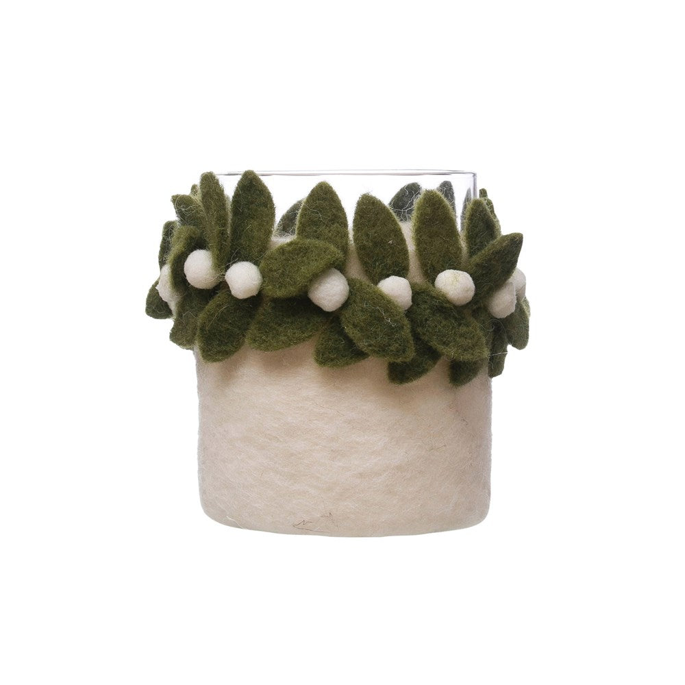 Wool Mistletoe Candle Holder