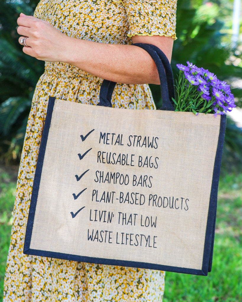 Low-Waste Lifestyle Trendy Jute Shopping Tote - Eco and Earth