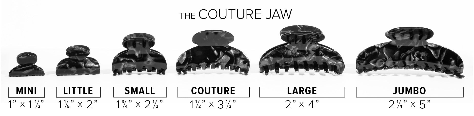 Couture Jaw Claw Clip comparison size chart