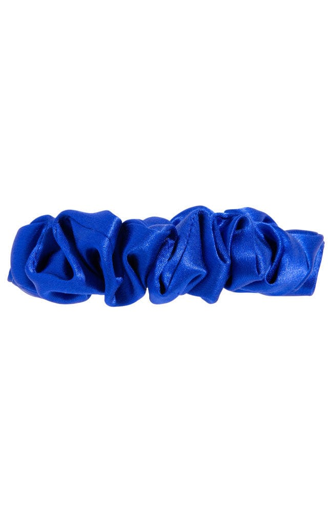 L. Erickson USA Small Pony/Scrunchie - Ocean Blue, Silk Charmeuse, side view