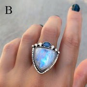 Trillion moonstone and fire opal ring or necklace