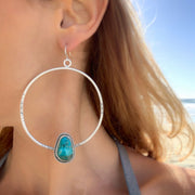 Stamped turquoise hoops in silver