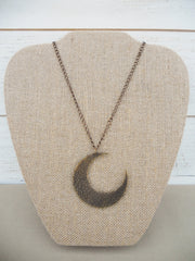 Antique bronze crescent moon necklace