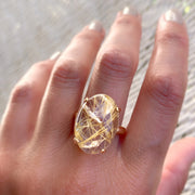 Prong-set rutilated quartz ring in 14K gold-fill - Size 8