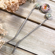 Hand-stamped fire opal & variscite hair fork in silver
