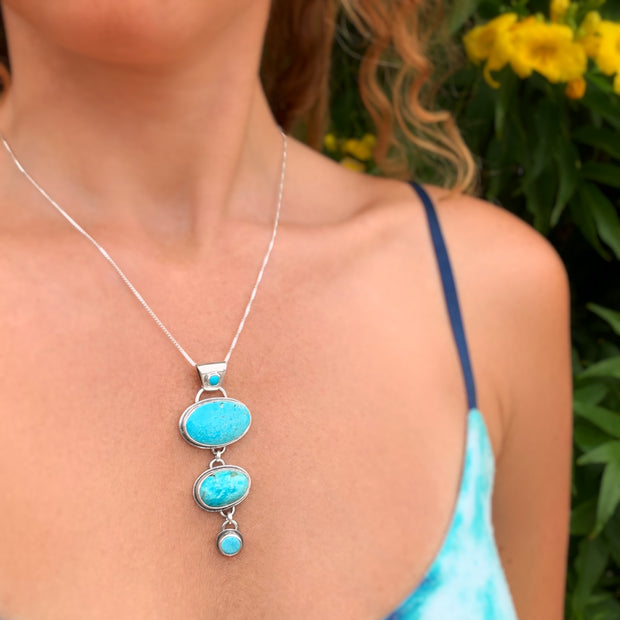 Cascading Campitos turquoise necklace in silver